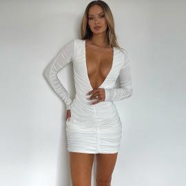 Women's Slim Pleated V-neck Dress Nihaostyles Clothing Wholesale NSFR78235