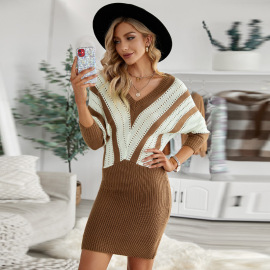 Women's Contrast Stitching Knitted Dress Nihaostyles Clothing Wholesale NSSI78247