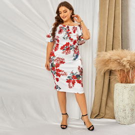 Women's Print One-word Collar Plus Size Dress Nihaostyles Clothing Wholesale NSSI78250