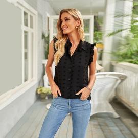 Women's Pure Color Jacquard Ruffled Sleeveless Chiffon Shirt Nihaostyles Clothing Wholesale NSSI78254