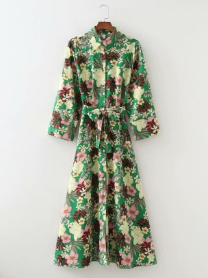Women's Printed Long-sleeved Shirt Dress With Belt Nihaostyles Clothing Wholesale NSAM78279