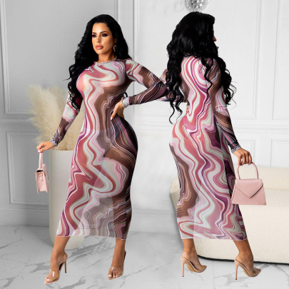 Women's Mesh Printing Long-sleeved Dress Nihaostyles Wholesale Clothing NSOSD78360