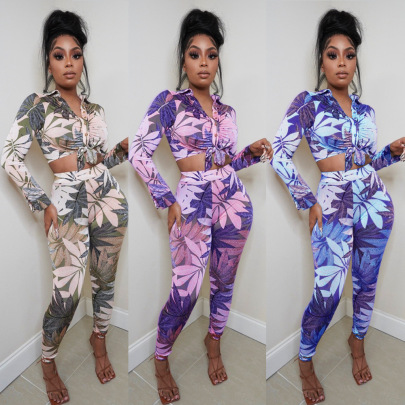 Women's Tight-fitting Printed Two-piece Nihaostyles Wholesale Clothing NSOSD78363