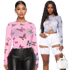 Women's Mesh Printing Long-sleeved Bottoming Shirt Nihaostyles Wholesale Clothing NSOSD78367