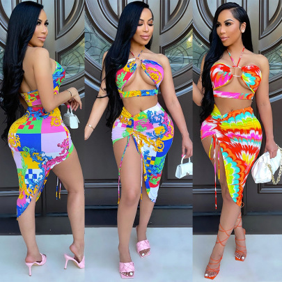 Women's Wrapped Chest Halter Irregular Short Skirt Two-piece  Nihaostyles Wholesale Clothing NSOSD78369