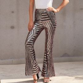 Women's High Waist Loose Straight Wide Leg Sequined Pants Nihaostyles Clothing Wholesale NSQSY78395