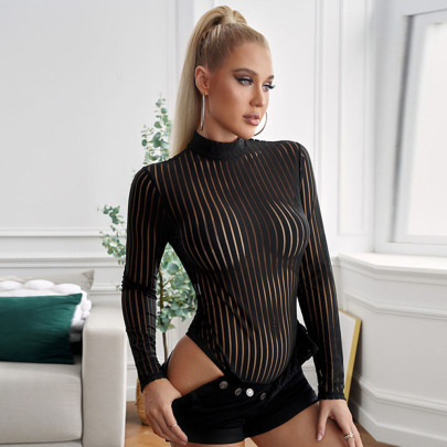 Women's Tight-fitting Vertical Stripes High Neck Long-sleeved One-piece Pajamas Nihaostyles Clothing Wholesale NSQSY78396