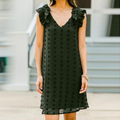 Women's Shoulder Ruffled Jacquard Chiffon Dress Nihaostyles Clothing Wholesale NSQSY78400