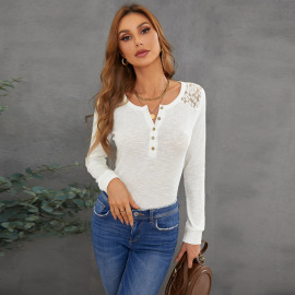 Women's Solid Color Slim Long-sleeved Lace Top Nihaostyles Clothing Wholesale NSQSY78403