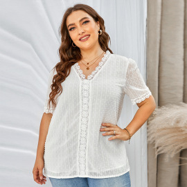 Women's Loose V-neck Pullover Solid Color Plus Size Lace Shirt Nihaostyles Clothing Wholesale NSQSY78404
