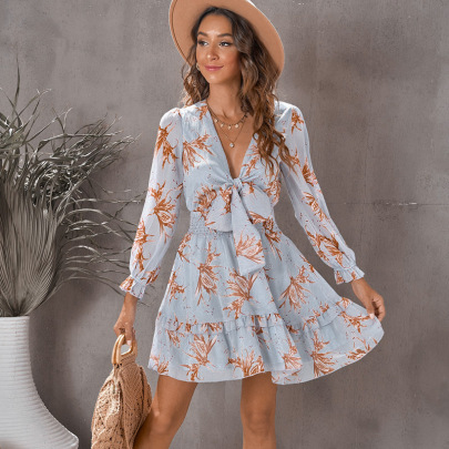 Women's Waist Tie V-neck  Long-sleeved Dress Nihaostyles Clothing Wholesale NSQSY78407