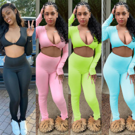 Women's Solid Color Long-sleeved Short Top Set Nihaostyles Wholesale Clothing NSOSD78421