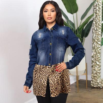 Women's Leopard Stitching Denim Coat Nihaostyles Wholesale Clothing NSWL78432
