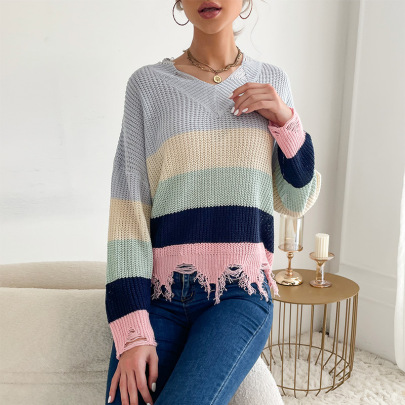 Women's Striped V-neck Knitted Sweater With Holes Nihaostyles Wholesale Clothing NSDMB78455