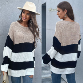 Women's Loose Round Neck Knitted Sweater Nihaostyles Wholesale Clothing NSDMB78457