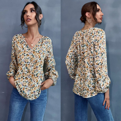 Women's Floral Chiffon Printed V-neck Shirt Nihaostyles Wholesale Clothing NSDMB78458