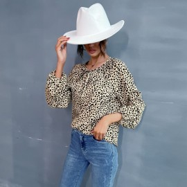 Women's Leopard Print Round Neck Pullover Shirt Nihaostyles Wholesale Clothing NSDMB78459