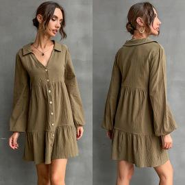 Women's V-neck Shirt Dress Nihaostyles Wholesale Clothing NSDMB78460