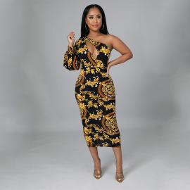 Women's Silk Print Dress Nihaostyles Wholesale Clothing NSOSD78470