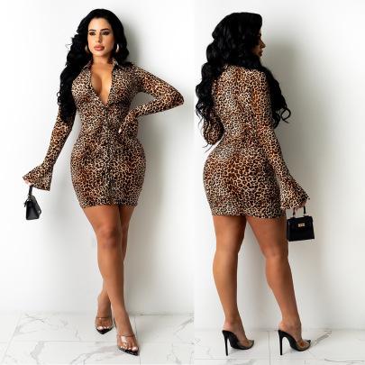 Women's Leopard Print Flared Sleeve Shirt Dress Nihaostyles Wholesale Clothing NSOSD78474