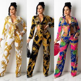 Women's Sports Leisure Silk Printing Two-piece Nihaostyles Wholesale Clothing NSOSD78475