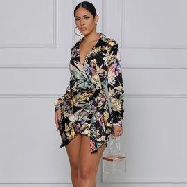 Women's Lace-up Cross-tie Shirt Dress Nihaostyles Wholesale Clothing NSOSD78477