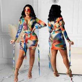 Women's Mesh Printing Dress Bandage Nihaostyles Wholesale Clothing NSOSD78481