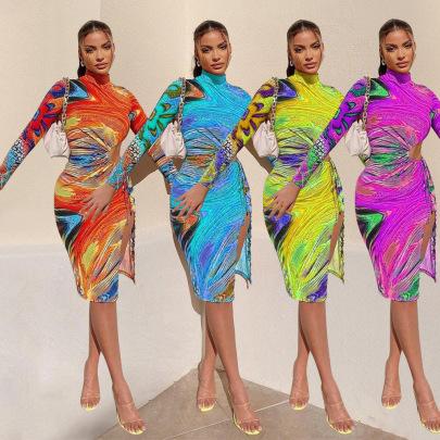 Women's Mid-waist Printed Silk Dress Nihaostyles Wholesale Clothing NSOSD78483