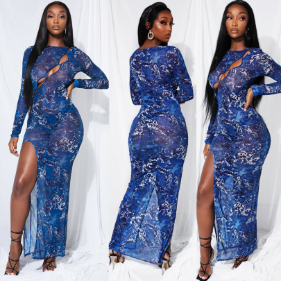 Women's Net Yarn Perspective Dress Nihaostyles Wholesale Clothing NSOSD78488