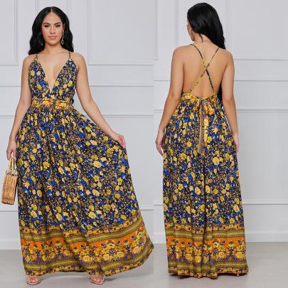 Women's V-neck Sling Floral Dress Nihaostyles Wholesale Clothing NSOSD78491