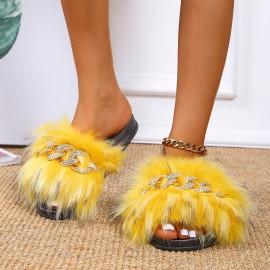 Women's Faux Fox Fur Slippers Nihaostyles Wholesale Clothing NSHYR78494