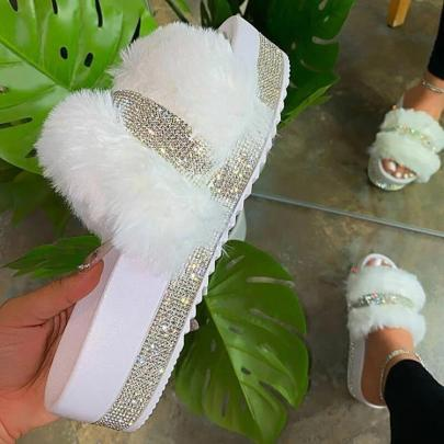 Women's Outdoor Rhinestone Plush Thick-soled Slippers Nihaostyles Wholesale Clothing NSHYR78495