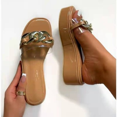 Women's Thick-soled Waterproof High Heel One-word Slippers Nihaostyles Wholesale Clothing NSHYR78496