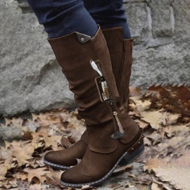 Women's Thick Heel High Tube Plus Size Knight Boots Nihaostyles Wholesale Clothing NSHYR78502
