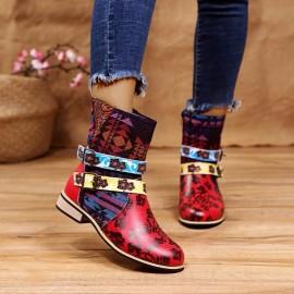 Women's Large Size Printed Bohemia Low-tube Martin Boots Nihaostyles Wholesale Clothing NSHYR78503