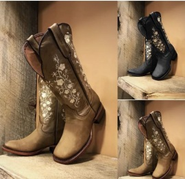 Women's Embroidered Square Toe Knight Short Boots Nihaostyles Wholesale Clothing NSHYR78505