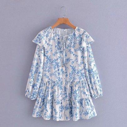 Women's V-neck Ruffled Dress Nihaostyles Wholesale Clothing NSAM78509