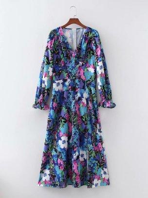 Women's V-neck Printed Dress Nihaostyles Wholesale Clothing NSAM78511
