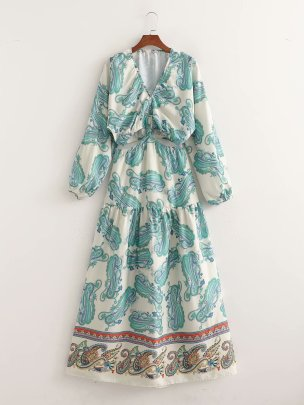 Women's V-neck Printing Dress Nihaostyles Wholesale Clothing NSAM78512