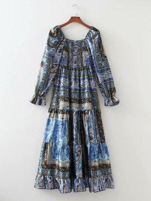 Women's Watermark Satin Wrap Chest Large Swing Dress Nihaostyles Wholesale Clothing NSAM78513