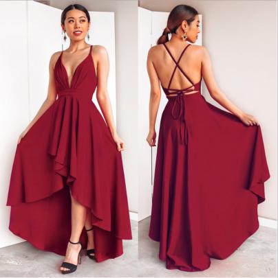 Women's V-neck Suspender Backless Dress Nihaostyles Wholesale Clothing NSYIS78525