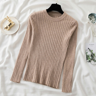 Women's Low Round Neck Bottoming Long Sleeves  Pullover Sweater Nihaostyles Wholesale Clothing NSYID79357