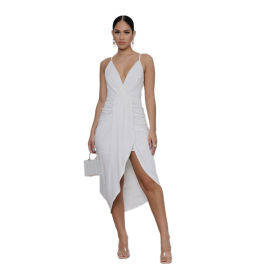 Women's Solid Color Pleated Sling Dress Nihaostyles Wholesale Clothing NSXPF78556