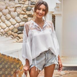 Women's V-neck Lace Chiffon Shirt Nihaostyles Wholesale Clothing NSQSY78567