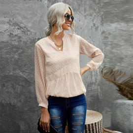 Women's Embroidered V-neck Chiffon Shirt Nihaostyles Wholesale Clothing NSQSY78573