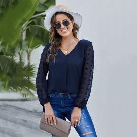 Women's Chiffon V-neck Shirt Nihaostyles Wholesale Clothing NSQSY78574