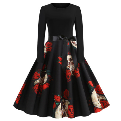 Women's Round Neck Long Sleeve Printed Dress With Black Ribbon Nihaostyles Wholesale Halloween Costumes NSSAP78575