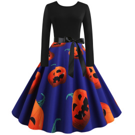 Women's Printing Big Swing Dress Nihaostyles Wholesale Halloween Costumes NSSAP78576