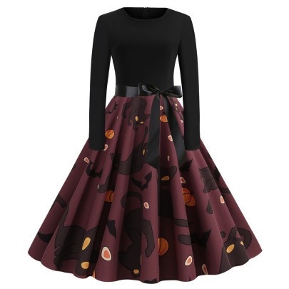 Women's Round Neck Long Sleeve Printed Dress With Black Ribbon Nihaostyles Wholesale Halloween Costumes NSSAP78579