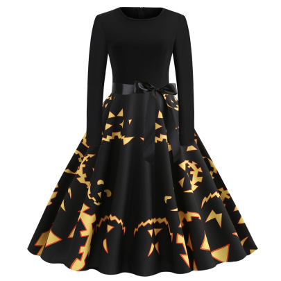 Round Neck Long Sleeve Printed Dress With Black Ribbon Nihaostyles Wholesale Halloween Costumes NSSAP78580